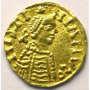 Numismatic foto  Coins Merovingian coins Bourgogne Royaume franc de Bourgogne Trémissis pseudo-impérial au nom de Justinien I   (env. 550-575)    TTB/TTB+