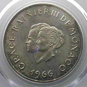 Numismatic foto  Coins Monaco Rainier III   (1949-2005) G.154   X° Anniversaire de mariage 10 Francs   1966    PCGS-MS64    FDC