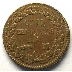 Numismatic foto  Coins Monaco Honoré V  (1819-1841) G.102   5 Centimes 1837 MC    TB+/TTB