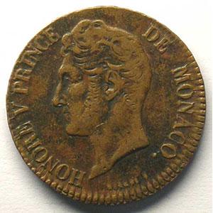 Numismatic foto  Coins Monaco Honoré V  (1819-1841) G.102   5 Centimes 1837 MC    TTB/TTB+