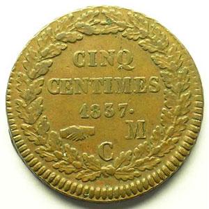 Numismatic foto  Coins Monaco Honoré V  (1819-1841) G.102   5 Centimes 1837 MC    TTB