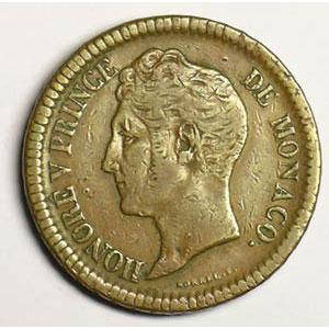 Numismatic foto  Coins Monaco Honoré V  (1819-1841) G.105   Un Décime 1838 MC    TB+