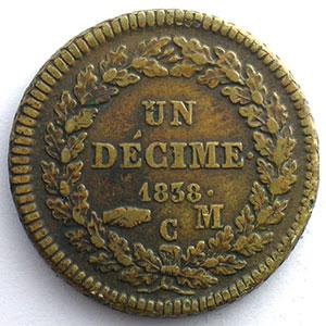 Numismatic foto  Coins Monaco Honoré V  (1819-1841) G.105   Un Décime 1838 MC    TTB