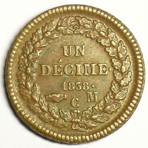Numismatic foto  Coins Monaco Honoré V  (1819-1841) G.105   Un Décime 1838 MC    TTB+