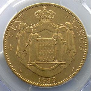 Numismatic foto  Coins Monaco Charles III  (1856-1889) G.122   Cent Francs 1882 A  (Paris)    PCGS-AU55    TTB+/SUP