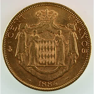 Numismatic foto  Coins Monaco Charles III  (1856-1889) G.122   Cent Francs 1884 A  (Paris)    TTB+