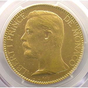 Numismatic foto  Coins Monaco Albert I (1889-1922) G.124   Cents Francs Or 1891 A    PCGS-MS61    SUP/FDC