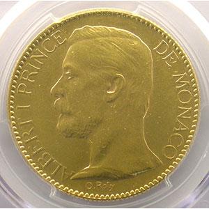 Numismatic foto  Coins Monaco Albert I (1889-1922) G.124   Cents Francs Or 1904 A    PCGS-AU58    SUP