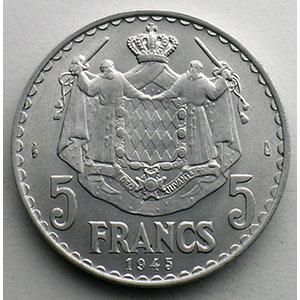 Numismatic foto  Coins Monaco Louis II  (1922-1949) G.135   5 Francs  Louis II 1945    SUP/FDC