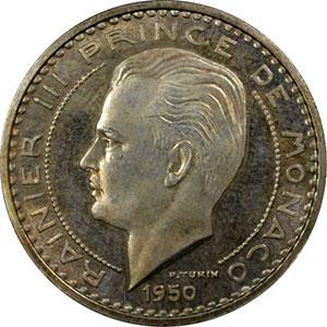 Numismatic foto  Coins Monaco Rainier III   (1949-2005) G.141   50 Francs Rainier III 1950 Essai en argent    PCGS-SP65    FDC