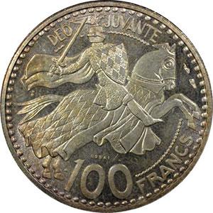 Numismatic foto  Coins Monaco Rainier III   (1949-2005) G.142   100 Francs Rainier III 1950 Essai en argent    PCGS-SP65    FDC