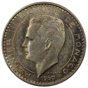 Numismatic foto  Coins Monaco Rainier III   (1949-2005) G.139   10 Francs Rainier III 1950 Essai en argent    PCGS-SP66    FDC