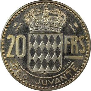 Numismatic foto  Coins Monaco Rainier III   (1949-2005) G.140   20 Francs Rainier III 1950 Essai en argent    PCGS-SP66    FDC