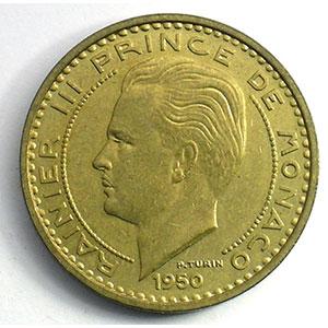 Numismatic foto  Coins Monaco Rainier III   (1949-2005) G.141   50 Francs Rainier III 1950 Essai    SUP/FDC