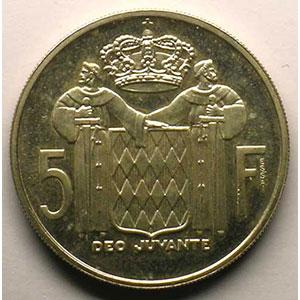 Numismatic foto  Coins Monaco Rainier III   (1949-2005) G.152   5 Francs 1960 Essai en argent    SUP
