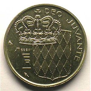 Numismatic foto  Coins Monaco Rainier III   (1949-2005) G.150   1 Franc  RAINIER III  1960  Essai en nickel    FDC