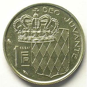 Numismatic foto  Coins Monaco Rainier III   (1949-2005) G.150   1 Franc  RAINIER III  1960  Essai en nickel    SUP