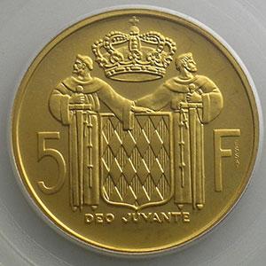 Numismatic foto  Coins Monaco Rainier III   (1949-2005) G.152   5 Francs 1960 Essai en or    PCGS-SP66    FDC