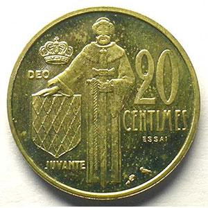 Numismatic foto  Coins Monaco Rainier III   (1949-2005) G.147   20 Centimes 1962 Essai en bronze-alu    FDC