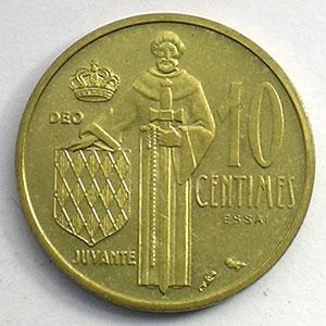 Numismatic foto  Coins Monaco Rainier III   (1949-2005) G.146   10 Centimes 1962 Essai en bronze-alu    FDC