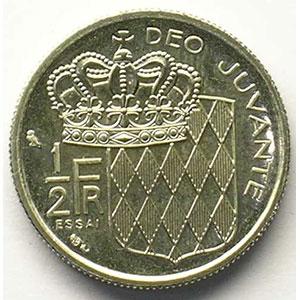 Numismatic foto  Coins Monaco Rainier III   (1949-2005) G.149   1/2 Franc 1965  Essai    FDC