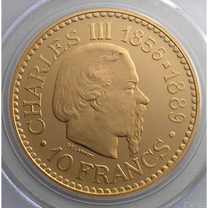 Numismatic foto  Coins Monaco Rainier III   (1949-2005) G.155   10 Francs Charles III 1966 Essai en or    PCGS-SP67   FDC exceptionnel