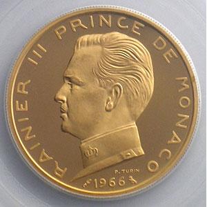 Numismatic foto  Coins Monaco Rainier III   (1949-2005) G.152   5 Francs 1966 Essai en or    PCGS-SP68    FDC exeptionnel