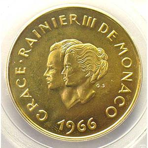 Numismatic foto  Coins Monaco Rainier III   (1949-2005) G.167   200 Francs Grace et Rainier III 1966    PCGS-MS65    FDC