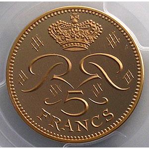 Numismatic foto  Coins Monaco Rainier III   (1949-2005) G.153   5 Francs Rainier III 1971  Piéfort en or    PCGS-SP68    FDC