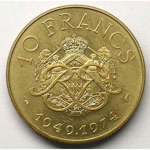 Numismatic foto  Coins Monaco Rainier III   (1949-2005) G.156   10 Francs 25° anniversaire 1974  Essai en cupro-nickel-alu    FDC
