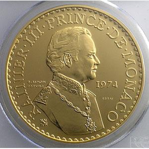 Numismatic foto  Coins Monaco Rainier III   (1949-2005) G.162   50 Francs, 25° anniversaire de règne 1974 Essai en or    PCGS-SP66    FDC exceptionnel