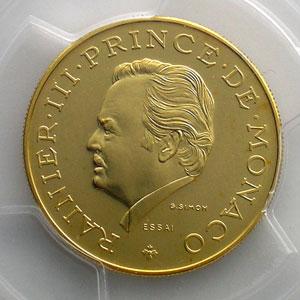 Numismatic foto  Coins Monaco Rainier III   (1949-2005) G.156   10 Francs 25° anniversaire 1974 Essai en or    PCGS-SP67    FDC