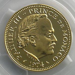 Numismatic foto  Coins Monaco Rainier III   (1949-2005) G.153   5 Francs Rainier III 1974 Essai en or    PCGS-SP68+    FDC
