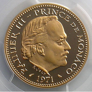 Numismatic foto  Coins Monaco Rainier III   (1949-2005) G.153   5 Francs Rainier III 1974  Piéfort en or    PCGS-SP68    FDC