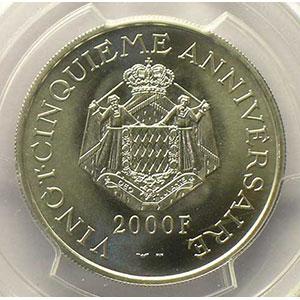 Numismatic foto  Coins Monaco Rainier III   (1949-2005) G.170   2000 Francs 1974  Platine    PCGS-SP68    FDC