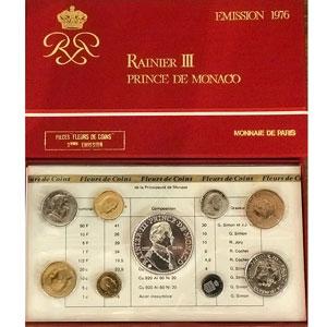 Numismatic foto  Coins Monaco Série FDC 1976