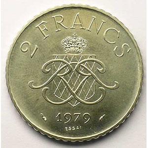 Numismatic foto  Coins Monaco Rainier III   (1949-2005) G.151   2 Francs 1979 Essai en nickel    SUP/FDC