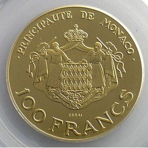Numismatic foto  Coins Monaco Rainier III   (1949-2005) G.163   100 Francs  Rainier et Albert 1982  Essai en or    PCGS-SP67    FDC