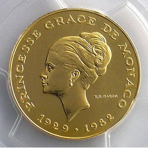 Numismatic foto  Coins Monaco Rainier III   (1949-2005) G.158   10 Francs Princesse Grace de Monaco 1982 Essai en or    PCGS-SP68    FDC