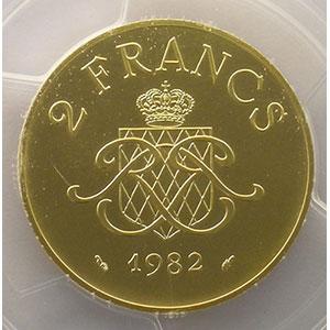 Numismatic foto  Coins Monaco Rainier III   (1949-2005) G.151   2 Francs 1982   Piéfort en or    PCGS-SP68    FDC