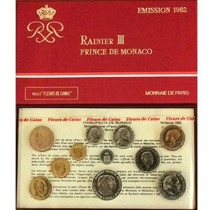 Numismatic foto  Coins Monaco Série FDC 1982