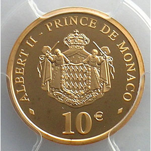 Numismatic foto  Coins Monaco Rainier III   (1949-2005) G.197   10 €  Rainier III 2005    PCGS-PR69DCAM    FDC