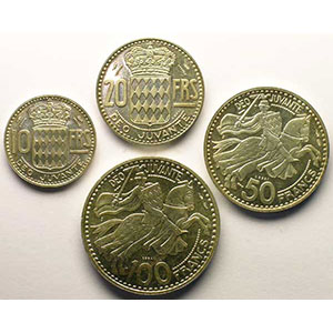 Numismatic foto  Coins Monaco Rainier III   (1949-2005) G.139-140-141-142   Rainier III Coffret de 4 Essais en argent    SUP/FDC