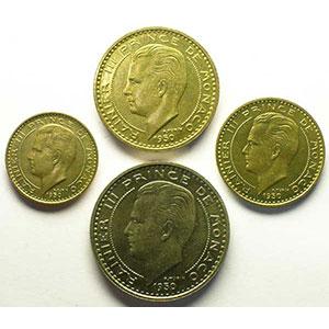Numismatic foto  Coins Monaco Rainier III   (1949-2005) G.139-140-141-142   Rainier III Coffret de 4 Essais    FDC