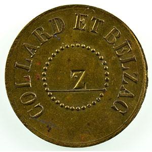 Numismatic foto  Coins Tokens and Medals Numismatics of trade and craft Cordonniers Collard et Belzac   cuivre doré, 24mm contremarqué Z   Bon pour une paire    SUP