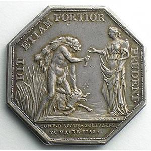 Numismatic foto  Coins Tokens and Medals Numismatics of insurance companies Havre, Compagnie d'Assurances Solidaires Jeton octogonal en argent   Louis XVI   Assurances Maritimes    TTB+