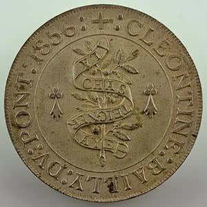 Numismatic foto  Coins Tokens and Medals Numismatics of the Nobility CLEONTINE BAILLY DU PONT   (Vendée) Jeton rond en argent   27mm   Louise Pauline Françoise Cléontine Bailly du Pont    La Châtaigneraie   Vendée   1856    SUP