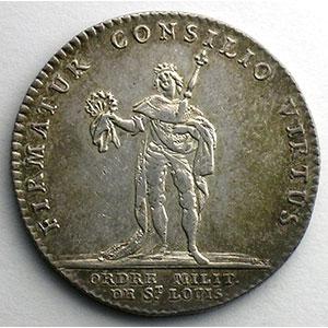 Numismatic foto  Coins Tokens and Medals Royal tokens Ordres du Roi jeton rond en argent   Ordre de Saint-Louis   Louis XV    SUP