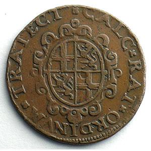 Numismatic foto  Coins Tokens and Medals Royal tokens Utrecht jeton rond en cuivre   Etats d'Utrecht   1593    TTB