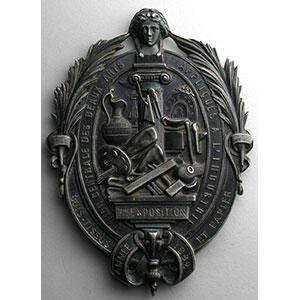 Numismatic foto  Coins Tokens and Medals Numismatique des Arts Beaux-arts appliqués à l'industrie Médaille en argent  52x71mm   7° exposition   Bois, tissus et papiers   1882    SUP/FDC